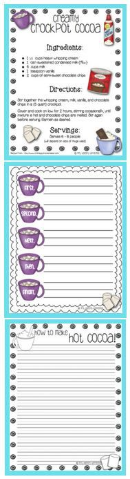 """FREE Expository Writing Lesson~  Students use this cocoa recipe to create their own how-to essay.  Resources include a cocoa-themed pre-writing page and final draft """"stationary.""""  There are also links to extension activities, as well as a great """"blue print"""" for using all the cited materials.  A truly """"delicious"""" idea!"""
