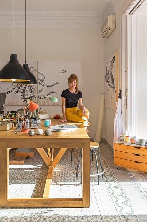 Light & Beauty in a Barcelona Artist's Apartment-Atelier