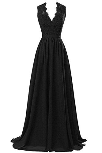 RandJ Women's Modest V Neck Open Back Chiffon Long Evening Gown with Lace ** You can get additional details at the image link.