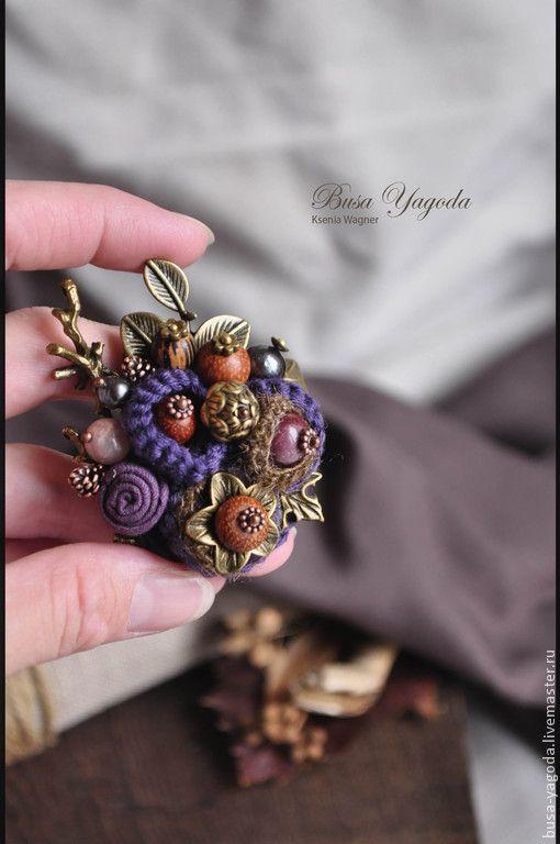 """Купить Брошь """"Дивный лес"""" - тёмно-фиолетовый, фиолетовый, рыжий, коричневый, брошь ручной работы"""