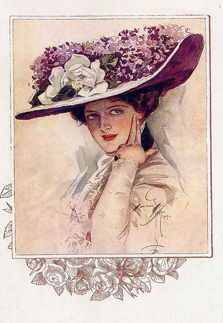 """Lady in lilac hat"" by Harrison Fisher 