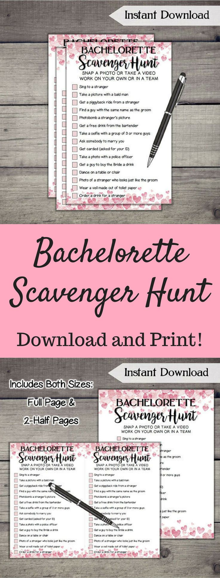 98 best entertainment images on pinterest beverage budgeting and cute downloadable bachelorette scavenger hunt game to play with the bride to be ad fandeluxe Images