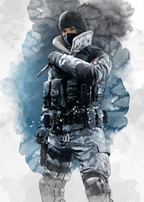 Rainbow Six Siege Watercolour Operators Frost Displate Artwork By