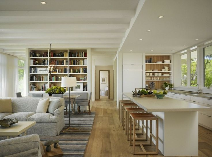 """zones in an open floor plan ... comfortable, polished but not """"precious"""" and unlivable feeling, well thought out choosing a floor plan view from other rooms"""