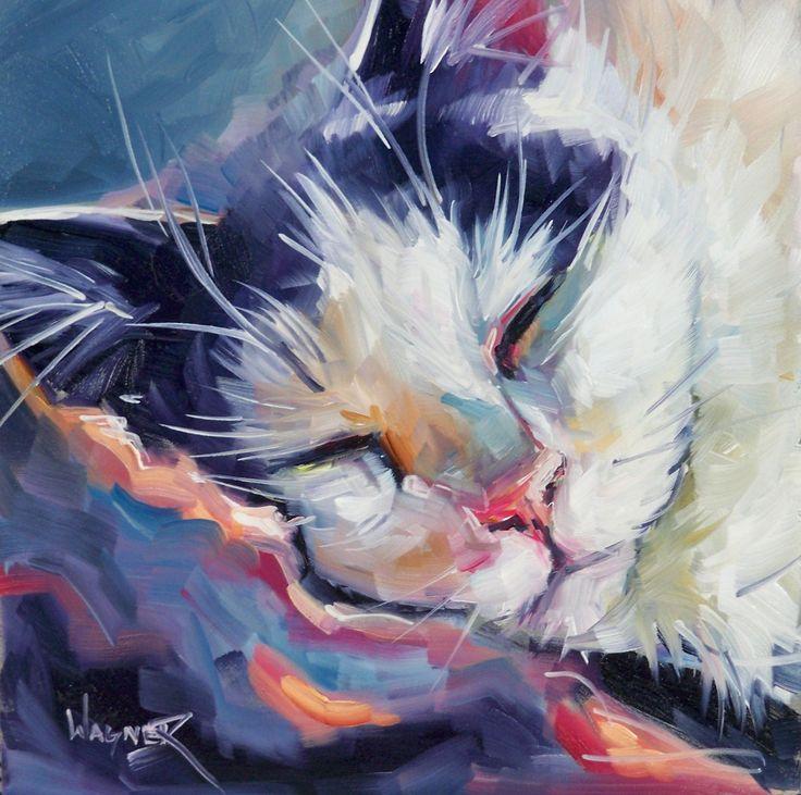 tuxedo cats sleeping in the sun | Olga Paints: SLEEPY TIME - Gray Tuxedo Cat