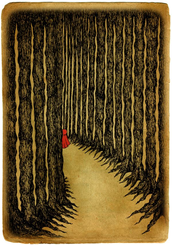 Little Red Riding Hood ~ i really like the feel of this illustration. you can really get a sense of the danger that is to come because of the huge trees in comparison to the little bitty red riding hood.
