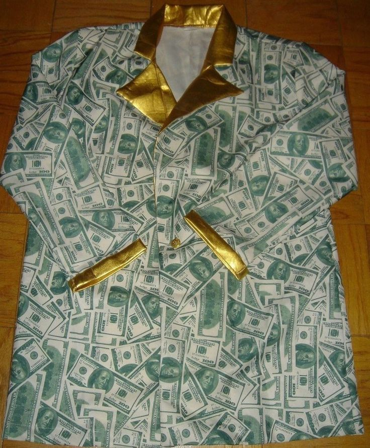 100 Dollar Bill Jacket Shirt Casino Wear Money Costume Men