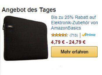 Amazon: Elektronik-Zubehör für einen Tag stark reduziert http://www.discountfan.de/artikel/technik_und_haushalt/amazon-elektronik-zubehoer-fuer-einen-tag-stark-reduziert.php Laptop-Hüllen, Kamerataschen und USB-Kabel von Amazon Basics sind für einen Tag mit deutlichen Preisabschlägen zu haben. Lohnend ist die Offerte in erster Linie für Prime-Kunden. Amazon: Elektronik-Zubehör für einen Tag stark reduziert (Bild: Amazon.de) Die Rabattaktion für elf Zubehörartikel