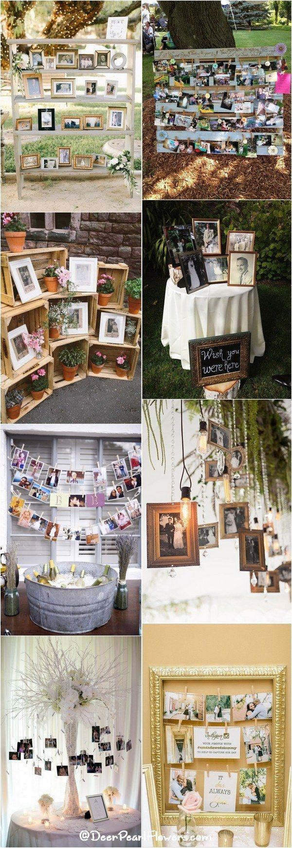 rustic wedding photo display wedding decor ideas / http://www.deerpearlflowers.com/wedding-photo-display-ideas/