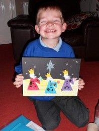 Liam's mum Diane says: 'Here is my son Liam with his crafty Christmas picture, inspired by his upcoming school nativity play 'We Three Kings'.How to make Liam's Christmas nativity scene:1. On an A4 sheet of black card, draw the Star of David in glue, at the top then sprinkle glitter over it.2. For the other stars, use sequins fixed in place with glitter glue.3. For the ground, use yellow and orange coloured paper, cut it in a wavy line and stick it to the black card.4. Next, make the 3…