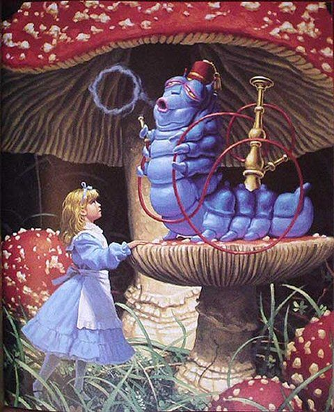 Advice from a Caterpillar by various artists including Greg Hildebrandt who did this particular illustration