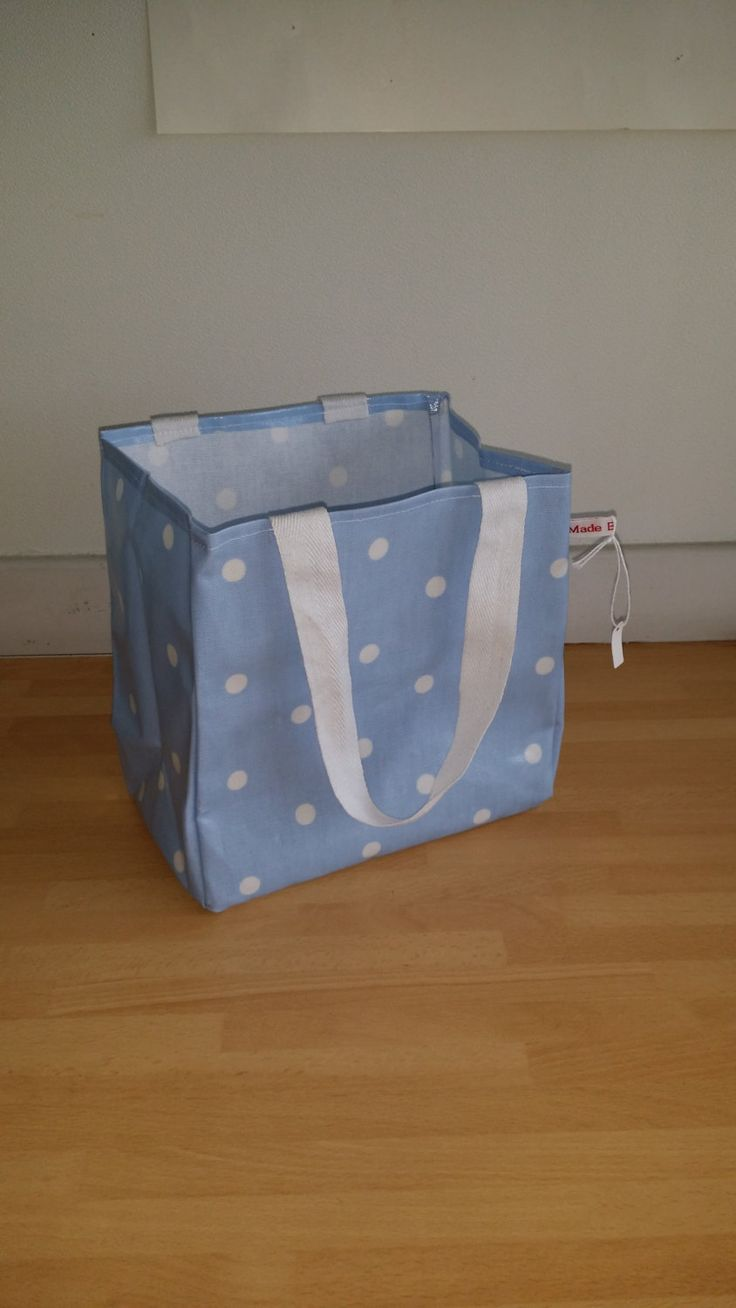 Blue Dotty Lunch Bag - oil cloth, wipe clean by MadeByMAP on Etsy