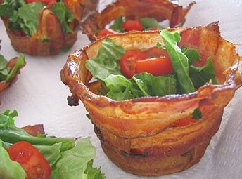 Bacon cups --We have stumbled upon something bigger than life! Breadless BLT's!