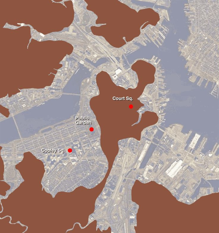 Map showing Boston of 1630 brown superimposed