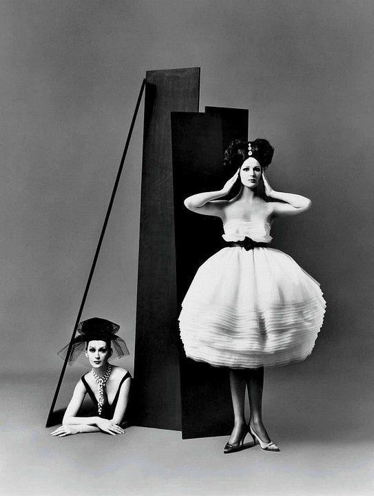 Photo by Richard Avedon.  Dovima and Betsy Pickering, dresses by Lanvin-Castillo, Paris studio, August 1958.