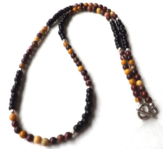 Teen Boys Necklace, African Mookaite and Black Glass with Bali Sterling Spacers, Teens Beaded Necklace, Boys Necklace, Beadwork Necklace