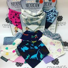 RE-STOCKED!! Our epic bandana bibs are back in stock!! The NeckerChew Bibs are:  Reversible, Super Absorbent, Stylish and Teether that won't drag or drop!!