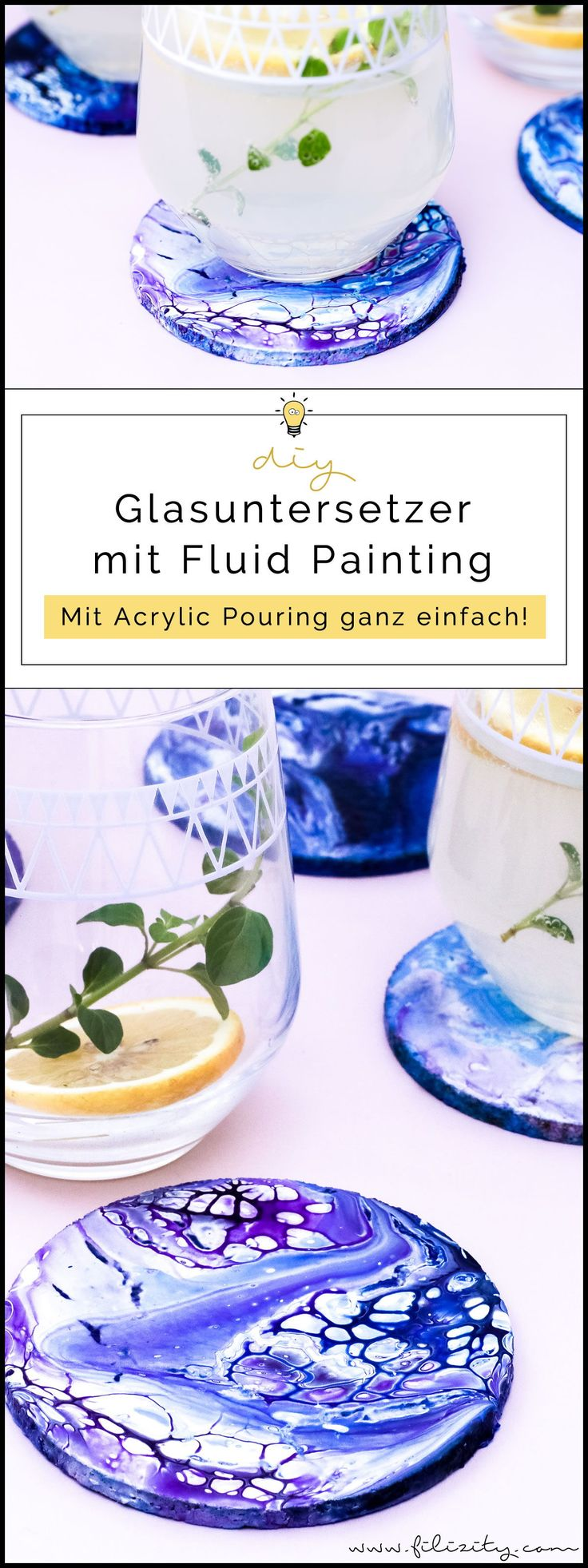Acrylic Pouring: DIY Glasuntersetzer mit abstrakter Malerei (Fluid Painting) selber machen | Filizity.com | DIY-Blog aus dem Rheinland #acrylicpouring #kunst #upcycling