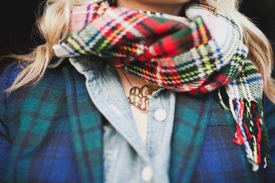 .: Fashion, Monograms Necklaces, Flannels, Style, Tartan Scarfs, Clothing, Tartan Plaid, Plaid Scarfs, Scarves