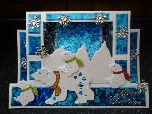 Christmas Card - Essential products for this project can be found on Crafting.co.uk - for all your crafting needs. - Cute Polar Bears