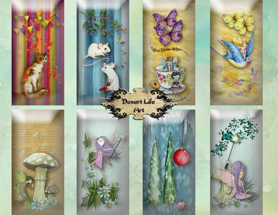 FAIRYVILLE  Domino 1 x 2 inches  Stickers by DesertLifeArt on Etsy, $4.25
