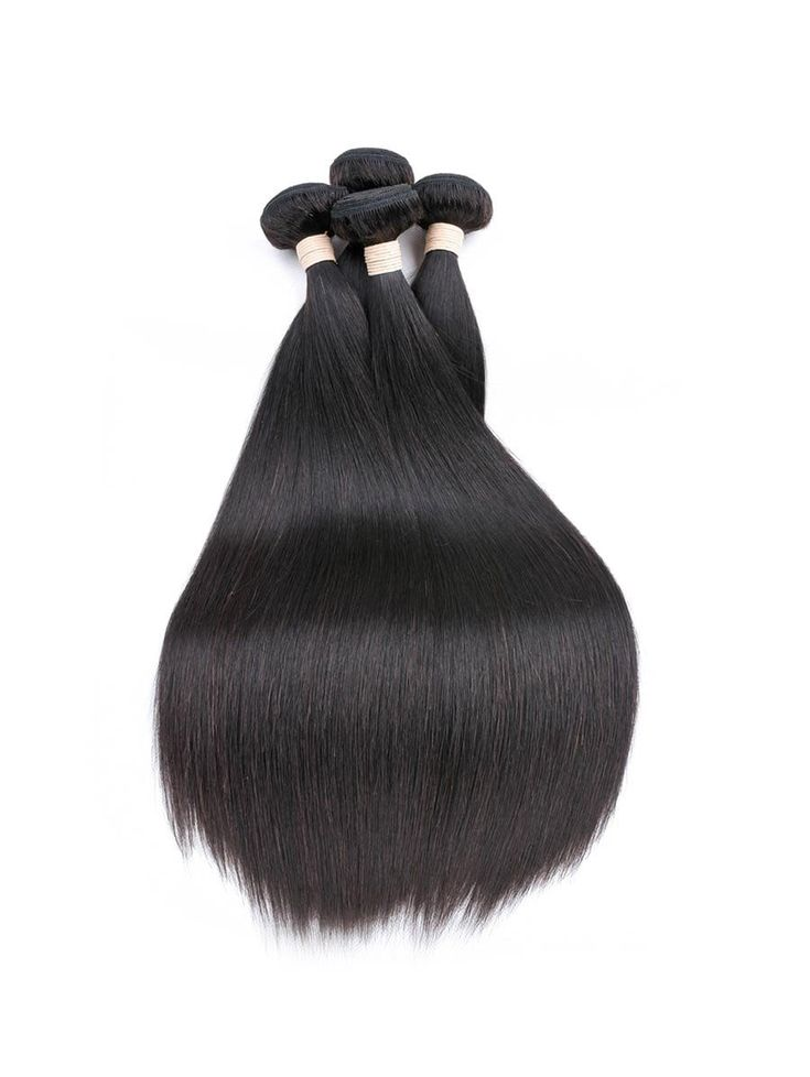 3Pcs Straight Human Hair Weft with 1Pc Center Part Straight Hair Piece