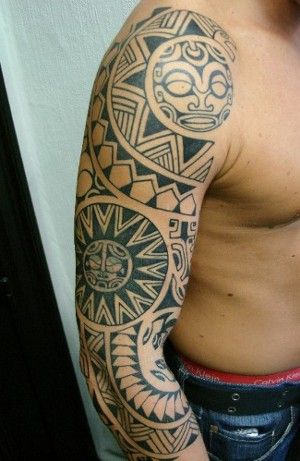 Cover Tattoos on Tattoos   Tribal Tattoos   Polynesian Inspired Sleeve And Cover Up