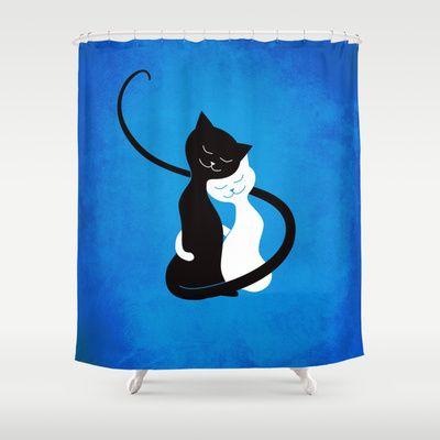 White And Black Cats In Love Shower Curtain by Boriana Giormova - $68.00 #showercurtain #bathroom #cat