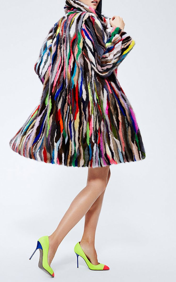 Multicolor Mink Fur Coat  by MATE OFFICIAL for Preorder on Moda Operandi