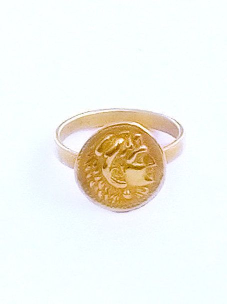 Lion Head Ring, Alexanders Lion Head , Ancient Coin Ring , Gold Plated Ring , Greek Gift , Double Sided Coin , All Size Ring,Greek Gold Ring by profoundgarden on Etsy