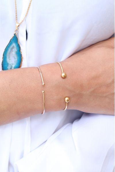 Bracelet slim plaqué or jonc boules Plus