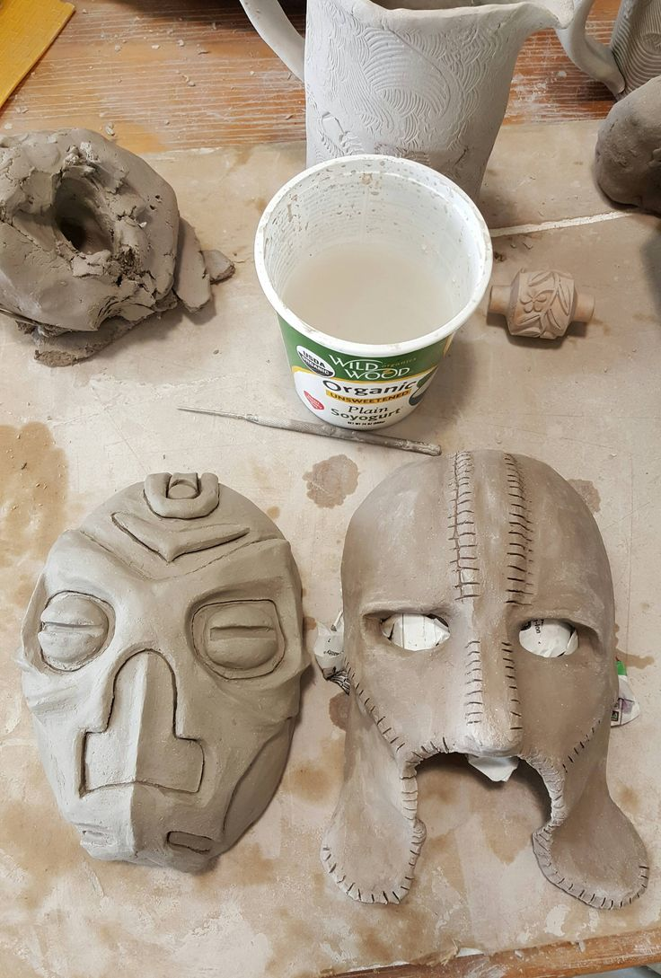 Dragon Priest and Gray Fox masks I made in a ceramics workshop this weekend #games #Skyrim #elderscrolls #BE3 #gaming #videogames #Concours #NGC