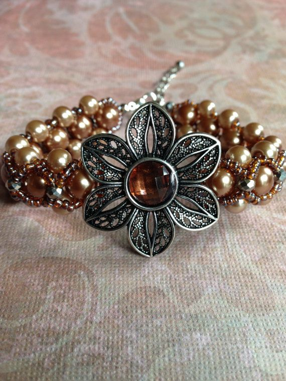 Flower Pearl Bracelet by suzanneshores on Etsy, $29.95