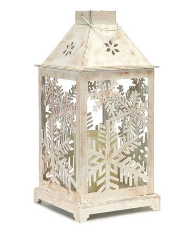White Snowflake Cutout Lantern & LED Candle - Either as centerpieces or around the reception room.