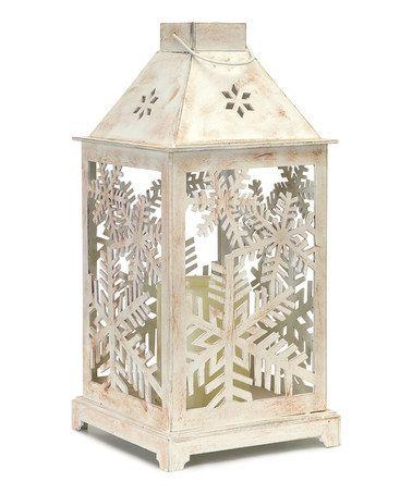 Look at this #zulilyfind! White Snowflake Cutout Lantern & LED Candle #zulilyfinds