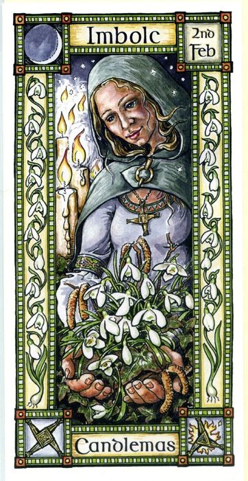 "Hedingham Fair cards - Imbolc Candlemas 2nd Feb by Karen Cater. ""At Imbolc or Candlemas, candle flames bring the light of purification after the birth of the New Year. the Celtic Goddess, Brigit, displays her role as midwife, having brought the year to its new birth.  Under the light of the slender crescent of the new moon, at the coldest time of the year, when all things seem dead, suddenly new life has appeared - snowdrops and hazel catkins - as if by magic."""