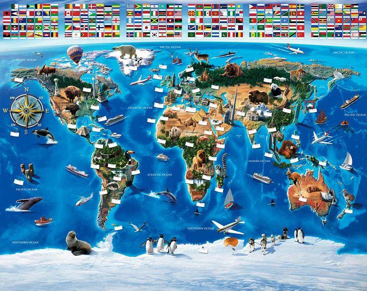 Simple Fototapete Kinderzimmer Wandbild Weltkarte inkl Tapetenkleister