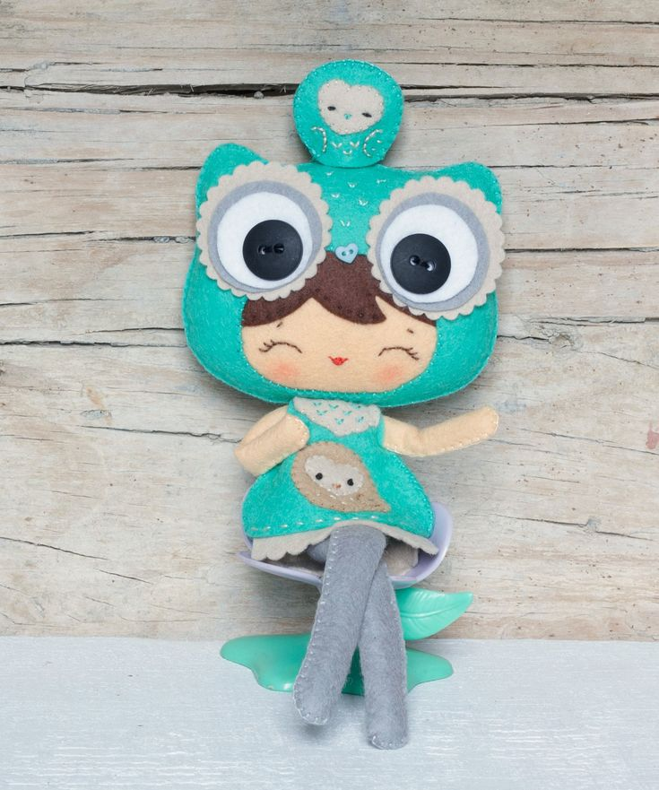 PDF. Owl girl with puppet. Plush Doll Pattern, Softie Pattern, Soft felt Toy Pattern.. $7.00, via Etsy.