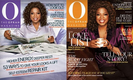 """O, The Oprah Magazine"" Subscription – Online Deal  $10 for a One-Year Subscription to ""O, The Oprah Magazine"" with Oprah Tote Bag ($18 Value). Shipping Included."