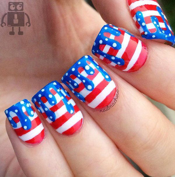 """This quirky design is great if you want to commemorate the independence with a fun design. It's a red and white stripes with """"drips"""" of blue and white polka dots. Again, the color of the flag."""