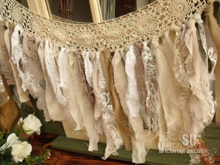 "56"" Vtg Lace Burlap Rag Valance Fabric Garland Wedding shabby Rustic Chic Torn"