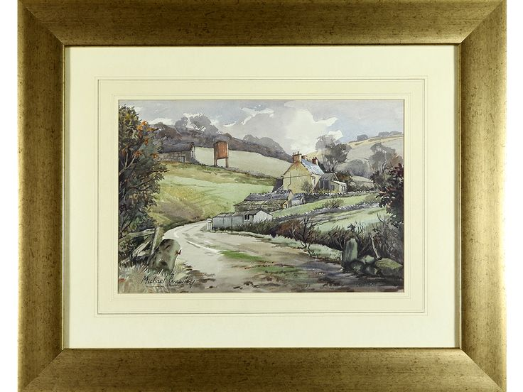 'Derbyshire Landscape' by Michael Crawley. Original signed & framed watercolour.