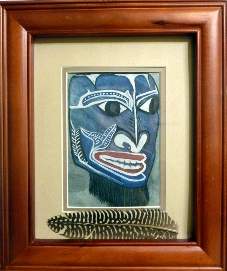 "Native Mask with real feather - water color Framed - 8"" x 10 ""  Contact me if interested in purchasing at: metz_debbie@yahoo.ca"
