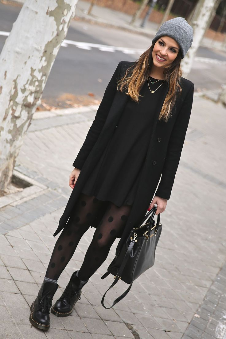 Blogger Style l Trendy Taste: black coat x black sweater dress x polka dot tights x dr.martens boots x beanie