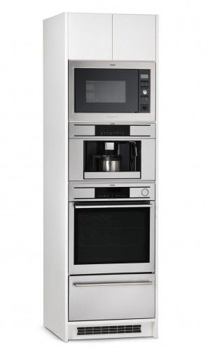 AEG Appliances | Appliance Towers [Luxury or Lifestyle] Appliance tower that features a 18 wine bottle refrigerator, automatic espresso machine, combi-steam oven, and warming drawer