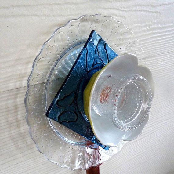 Glass flower, garden art, yard ornament, suncatcher, sun catcher, garden decor, wall fence decor, yard art, blue, white