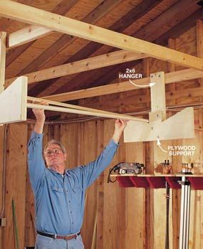 Overhead storage racks keep materials off the floor and out of your way. Article shows compressor up and away, peg board, etc