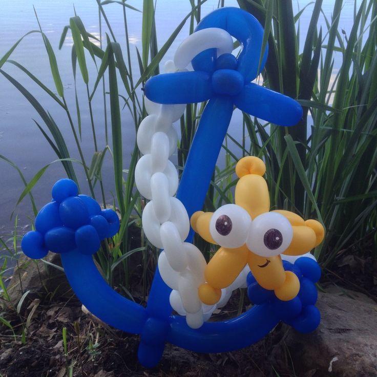 Anchor twist balloon fiesta con globos pinterest for Anchor balloon decoration