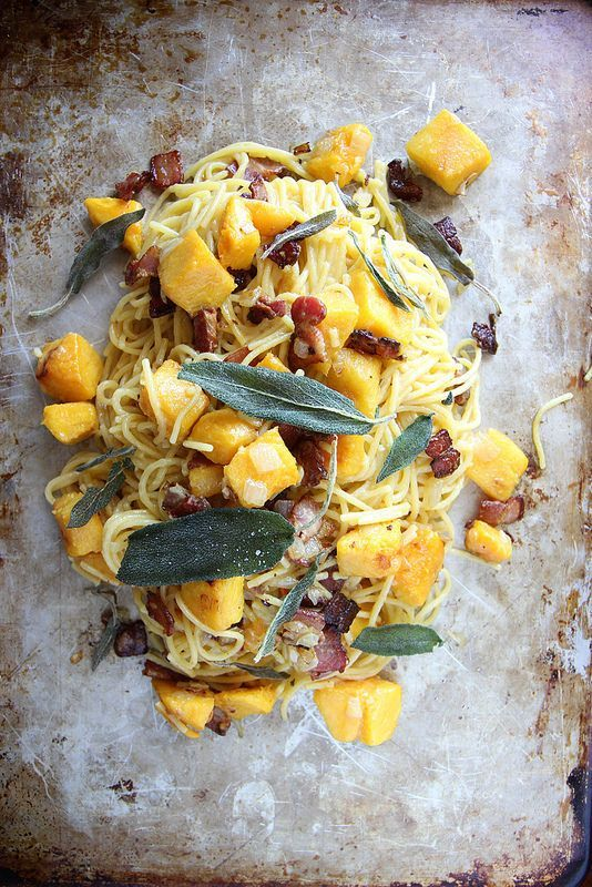 Pumpkin, Bacon and Fried Sage Pasta (Dairy, Egg and Gluten Free)