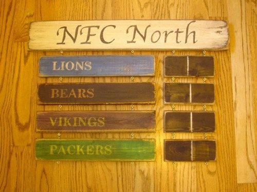 NFC North standings board Vikings Packers Bears Detroit Lions sign   MyRusticBoardSigns - Woodworking on ArtFire